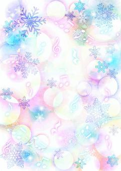 カラフルほわ雪の結晶と楽譜の背景タテ