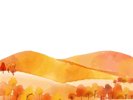 Autumn mountain watercolor