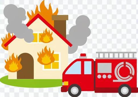 消防室和消防车