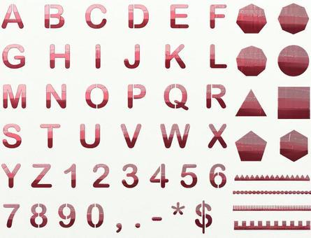 字母數字金屬粉紅色