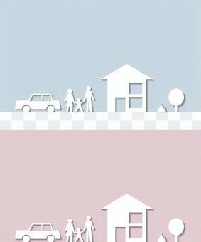 建造房子汽車家庭剪影鎮