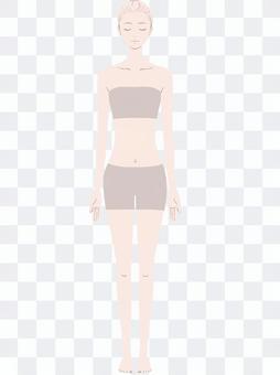 Female full body model beige