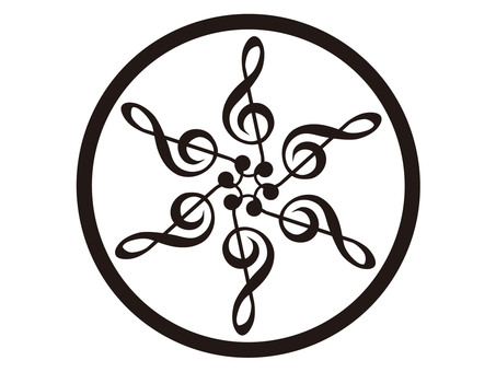 Six treble sounds in a circle