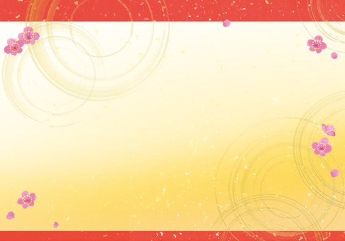 金波紋梅花日式背景紅帶