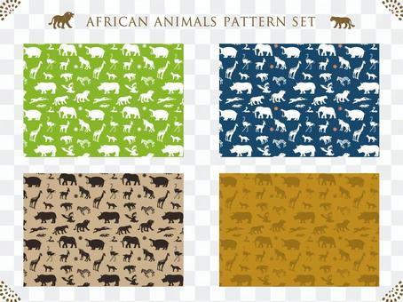 African animals silhouette pattern