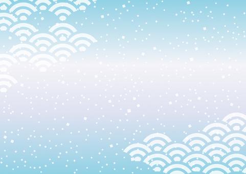 青海波浪淺藍色日式背景