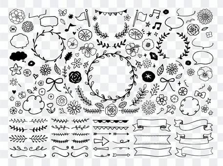 花卉框架裝飾(手繪線圖)
