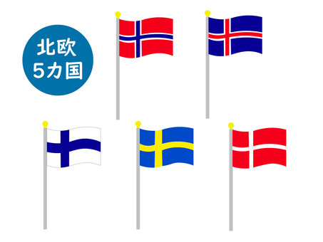Flag set with balls from 5 Scandinavian countries