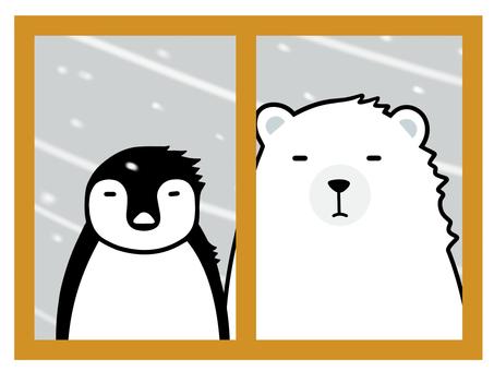 Penguins and polar bears outside the window