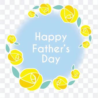 Father's day yellow rose circle frame logo