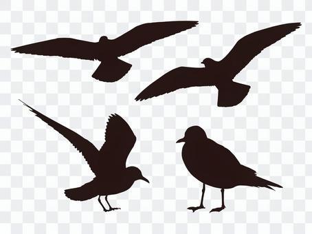 鳥的剪影(黑色)