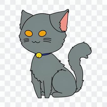 坐著蓬鬆的灰貓