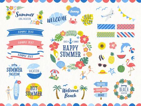 熱帶夏季框架設計與插圖