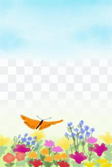 花和蝴蝶明信片