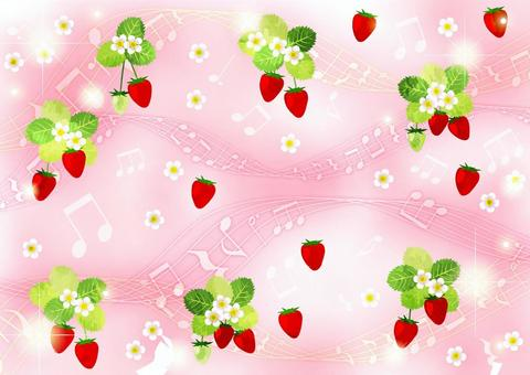 水彩風格草莓和音符閃光背景水平