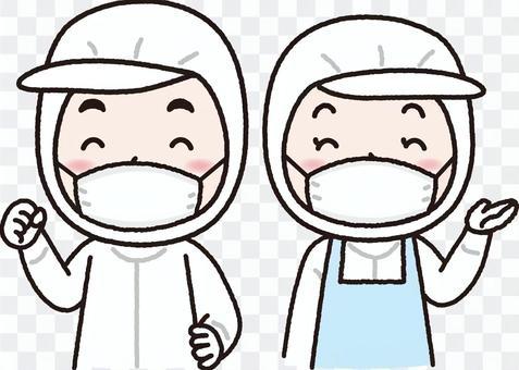 衛生白衣を着る男女