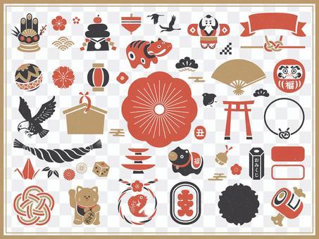 新年的日語框架和圖標集(牛年)