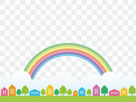Cityscape and rainbow background material