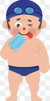 Swimmer eating ice