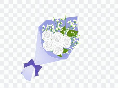 白いバラの花束_青色包装
