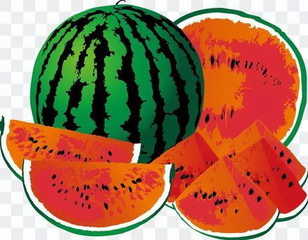 西瓜西瓜夏季水果水果炎熱的夏天日出
