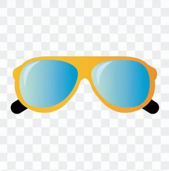 青いレンズのサングラス