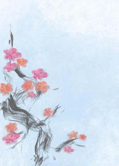 Plum blossom-with background-postcard size