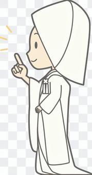 純白色 - 手指指向左側 - 整個身體