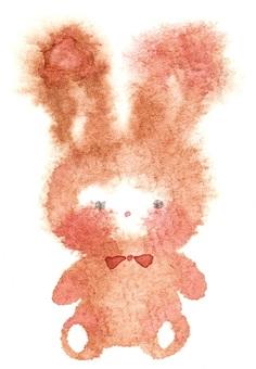 棕色蓬鬆兔子透明水彩手繪出血