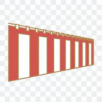 珀斯垂懸的紅色和白色帷幕