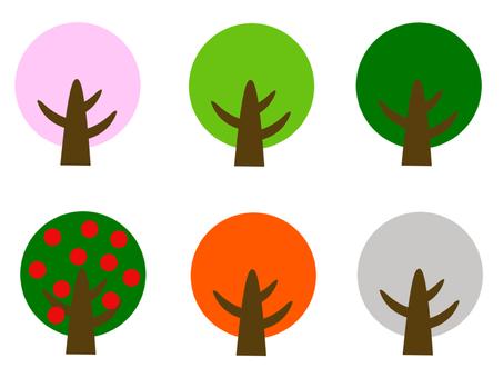 Spring summer autumn winter tree illustration set