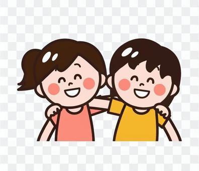 Children (friends) shoulder children (girls)