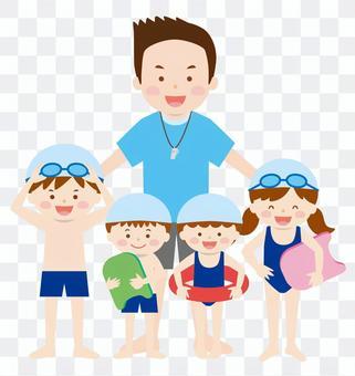 老师和孩子们02_游泳