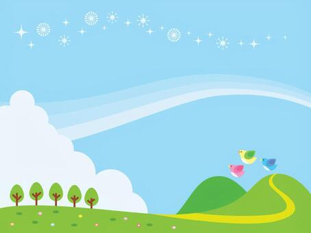 Blue sky and meadow illustration
