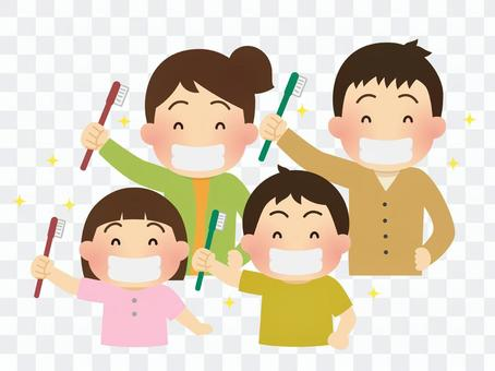 Illustration of a family brushing teeth
