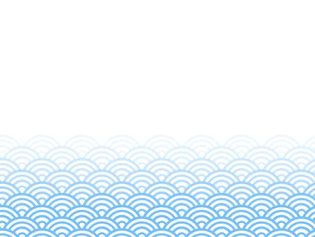 漸變半邊青海波浪底:淺藍色