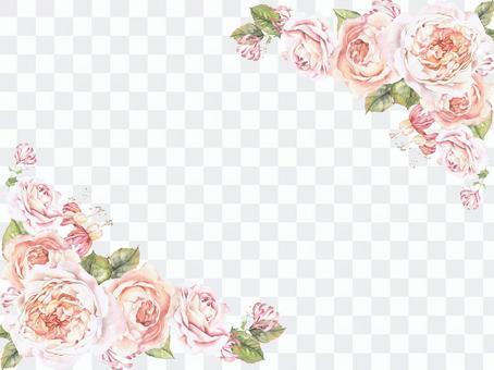 花框架145  -  Oya的柔和的顏色玫瑰的花框架