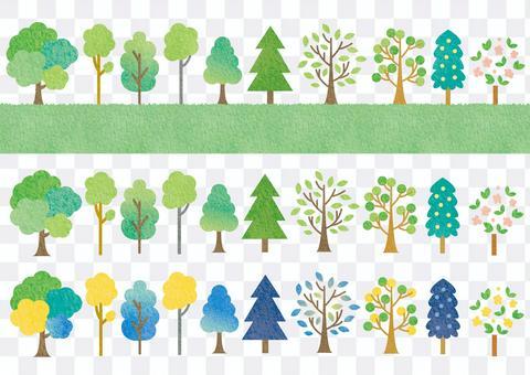 水彩樹手繪插畫素材集