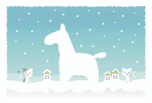 Snow scenery new year
