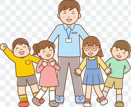 男老師和孩子B線可用