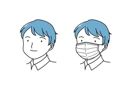 戴口罩和不戴口罩的人對比