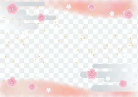 New Year _ plum _ Japanese paper _ frame