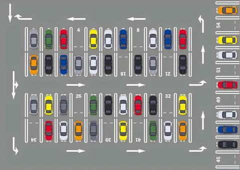 停車場的鳥瞰圖