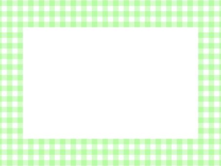 깅엄 체크 사각 프레임 : 연두색