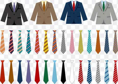 Suit tie icon set