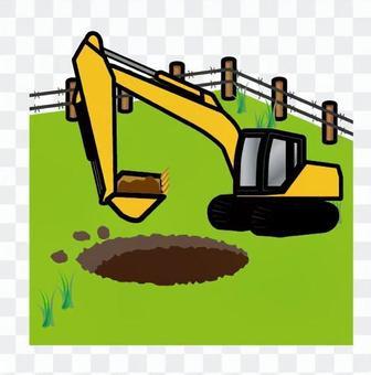 用挖掘機工作