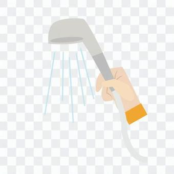 Hands with hand - shower