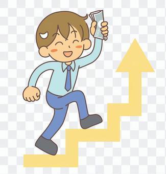 收入上升男子爬樓梯
