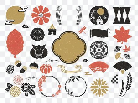 秋月觀賞日式框架和圖標集