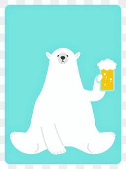 Polar bear drinking beer